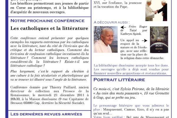 La lettre de liaison de la bibliothèque diocésaine pour le mois de décembre est disponible