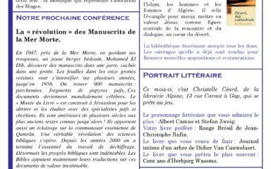 La lettre de liaison de la bibliothèque diocésaine pour le mois de janvier est disponible