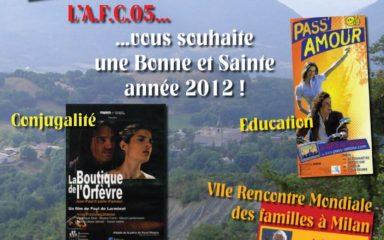 Au programme 2012 de l'Association familiale catholique des Hautes-Alpes