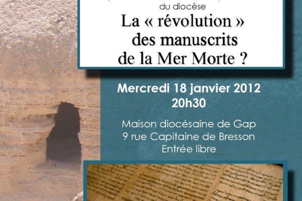 """Conférence """"La 'révolution' des manuscrits de la Mer Morte ?"""" par le Père Pierre Fournier le 18 janvier à 20h30"""