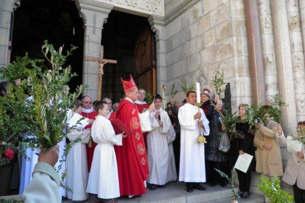 87 célébrations ont permis aux Haut-Alpins de fêter les Rameaux – À Gap la messe à la cathédrale était présidée par Mgr Jean-Michel di Falco Léandri