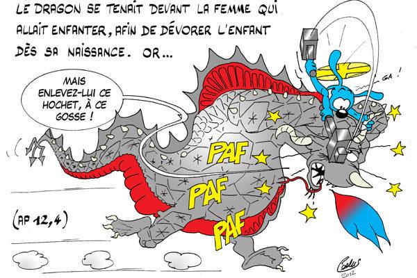 Le dragon se tenait devant la femme !