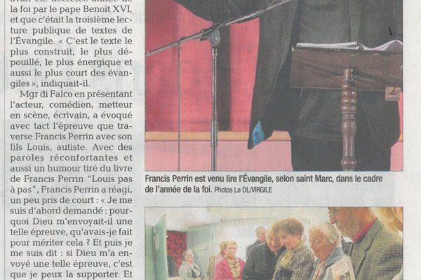 Francis Perrin lit saint Marc. Retransmission intégrale sur RCF