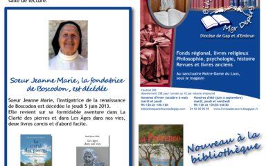 Venez découvrir à la bibliothèque diocésaine les ouvrages de Sœur Jeanne Marie et sur Boscodon
