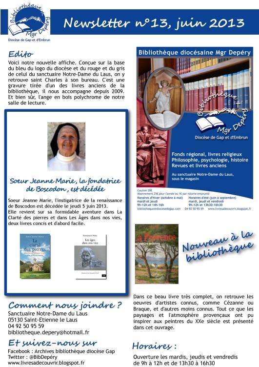 You are currently viewing Venez découvrir à la bibliothèque diocésaine les ouvrages de Sœur Jeanne Marie et sur Boscodon