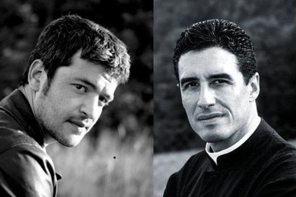 Le chanteur Grégoire et le prêtre Michel-Marie Zanotti-Sorkine à Notre-Dame du Laus pour le 15 août