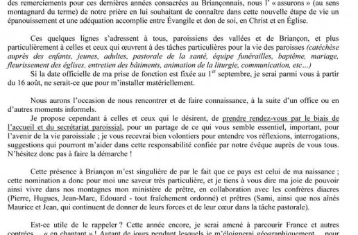 Mot du père Jean-Michel Bardet aux Briançonnais