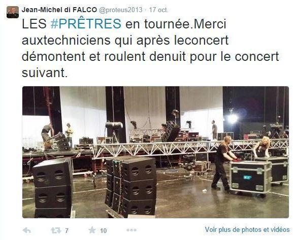 """Quelques tweets sur les concerts du groupe """"Les Prêtres"""""""