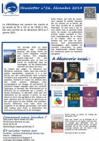 Lettre de liaison de la bibliothèque diocésaine pour le mois de décembre 2014