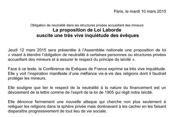 Inquiétude de la CEF concernant la proposition de loi Laborde