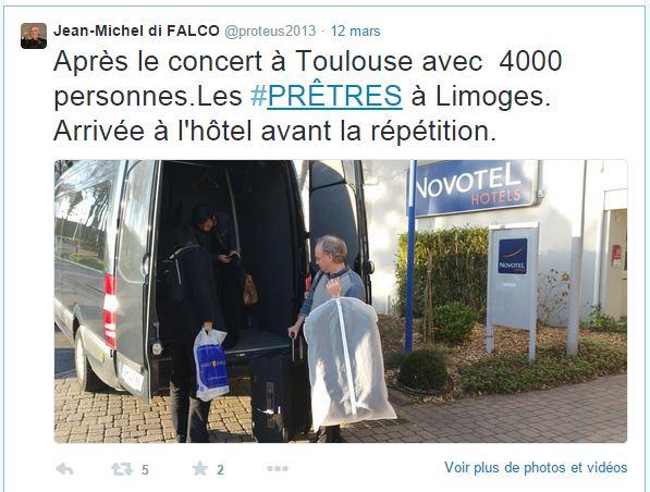 """La tournée du groupe """"Les Prêtres"""" à Toulouse, Limoges, Tours, Alençon et Rennes"""