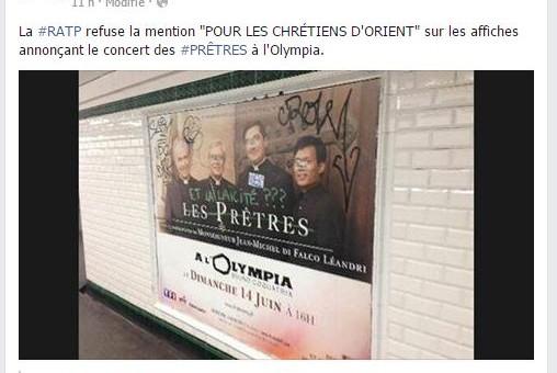La RATP refuse la mention «pour les chrétiens d'Orient»