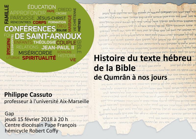 Conférence : Histoire du texte hébreu de la Bible