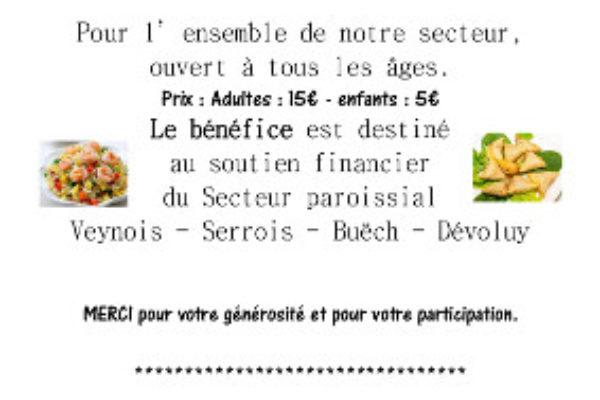 La paroisse de Veynes vous invite à un repas malgache