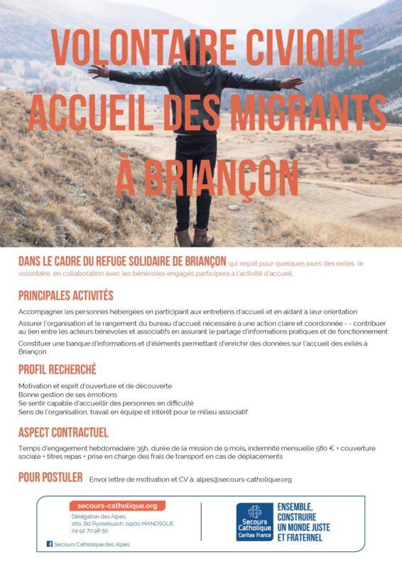 Service civique auprès des migrants à Briançon
