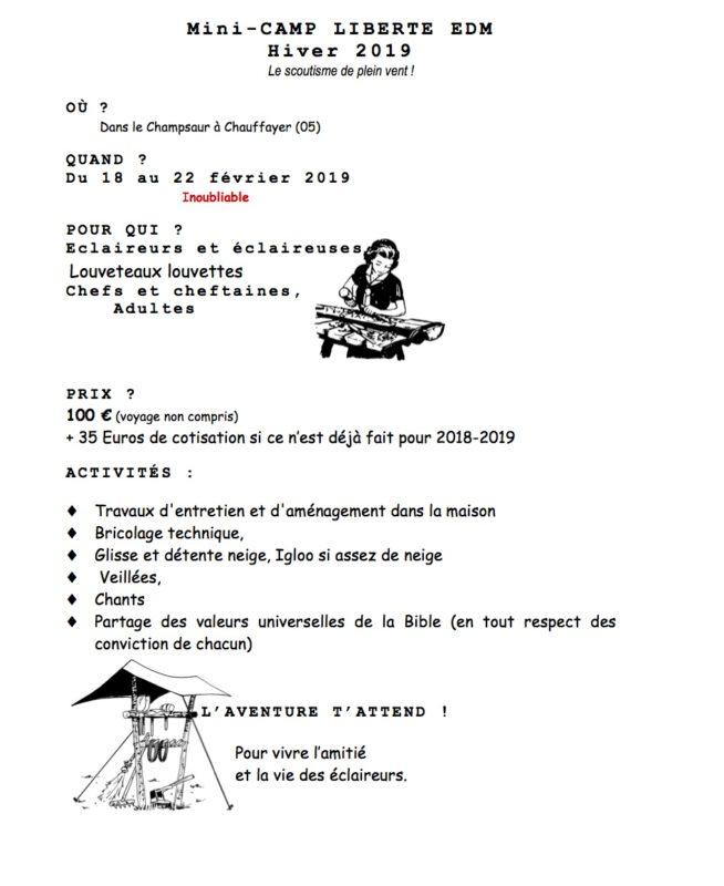 """Mini camp """"neige et service"""" du 18 au 22 février pour les 8-17 ans"""