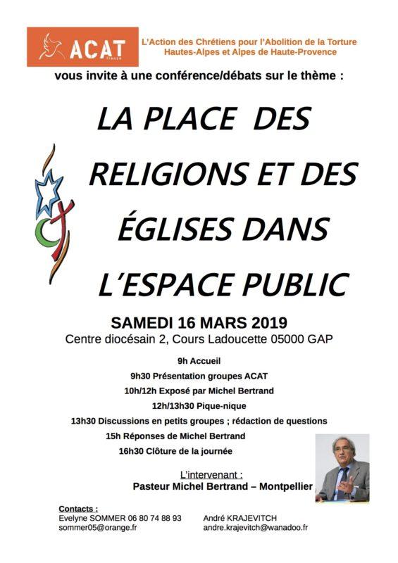 """Conférence ACAT """" La place des religions et des églises dans l'espace public"""""""