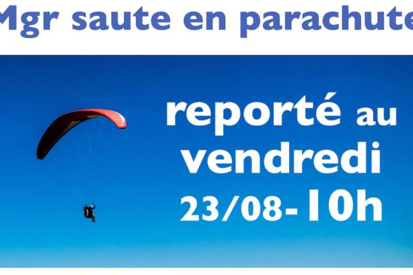 23 aout 2019 Mgr Malle saute en parachute pour les vocations