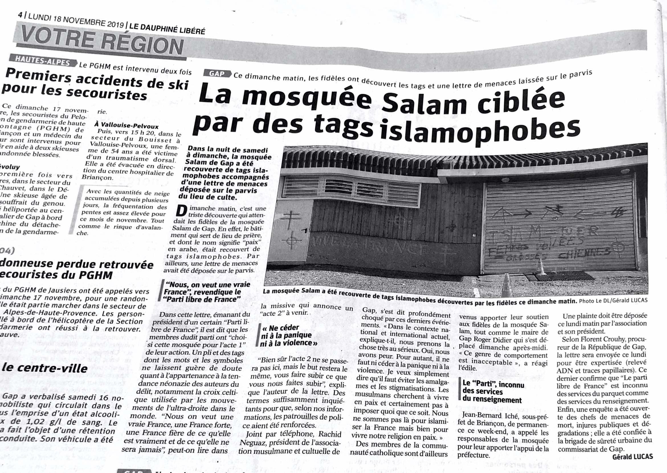 La mosquée Salam ciblée par des tags islamophobes