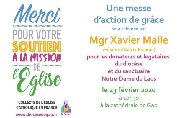 Homélie de la messe pour les donateurs le 23 février 2020 à Gap