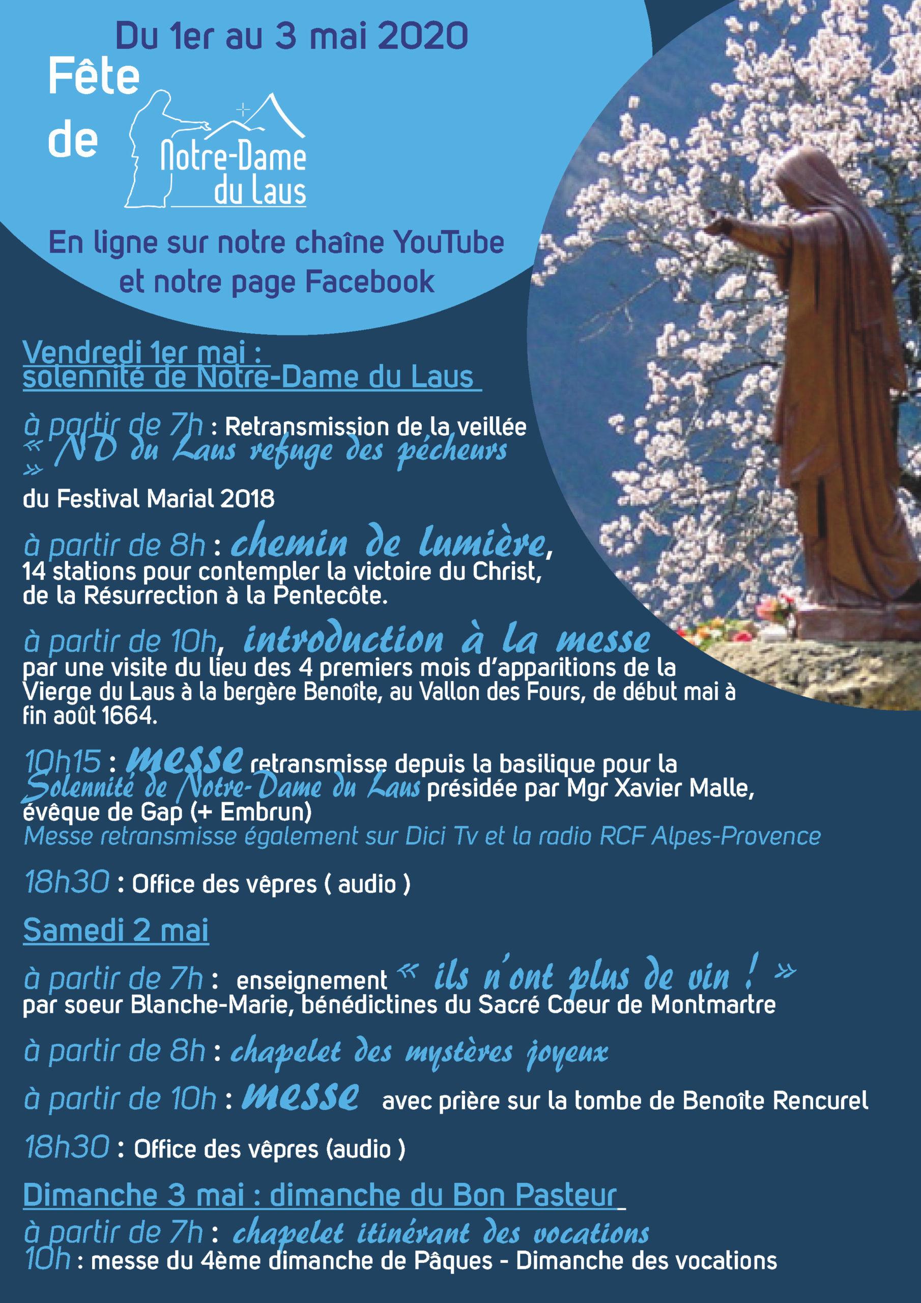 (Re)Vivez la fête de Notre-Dame du Laus en ligne