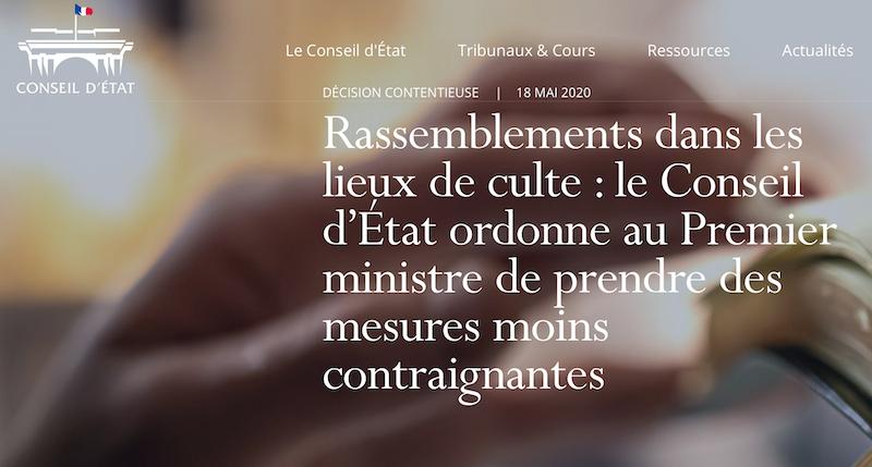 Le Conseil d'Etat  rappelle que la liberté de culte est une liberté fondamentale #coronavirus