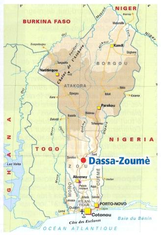 carte du diocèse de Dassa-Zoumé
